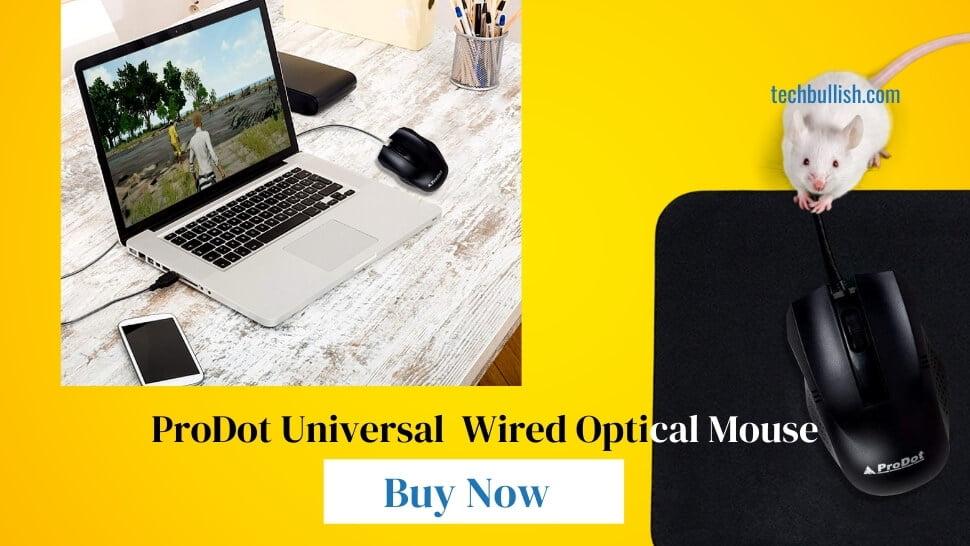 ProDot Universal MU253s USB 1000 DPI-Wired Optical Mouse Black